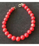 Vintage Red Coral bead beaded 7.5 inch 7mm Tennis Bracelet 14K Gold Fill... - $19.79