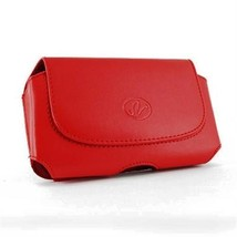 Red Horizontal Leather Case Pouch For HTC One M7 One Google Play Edition 801s - $4.99
