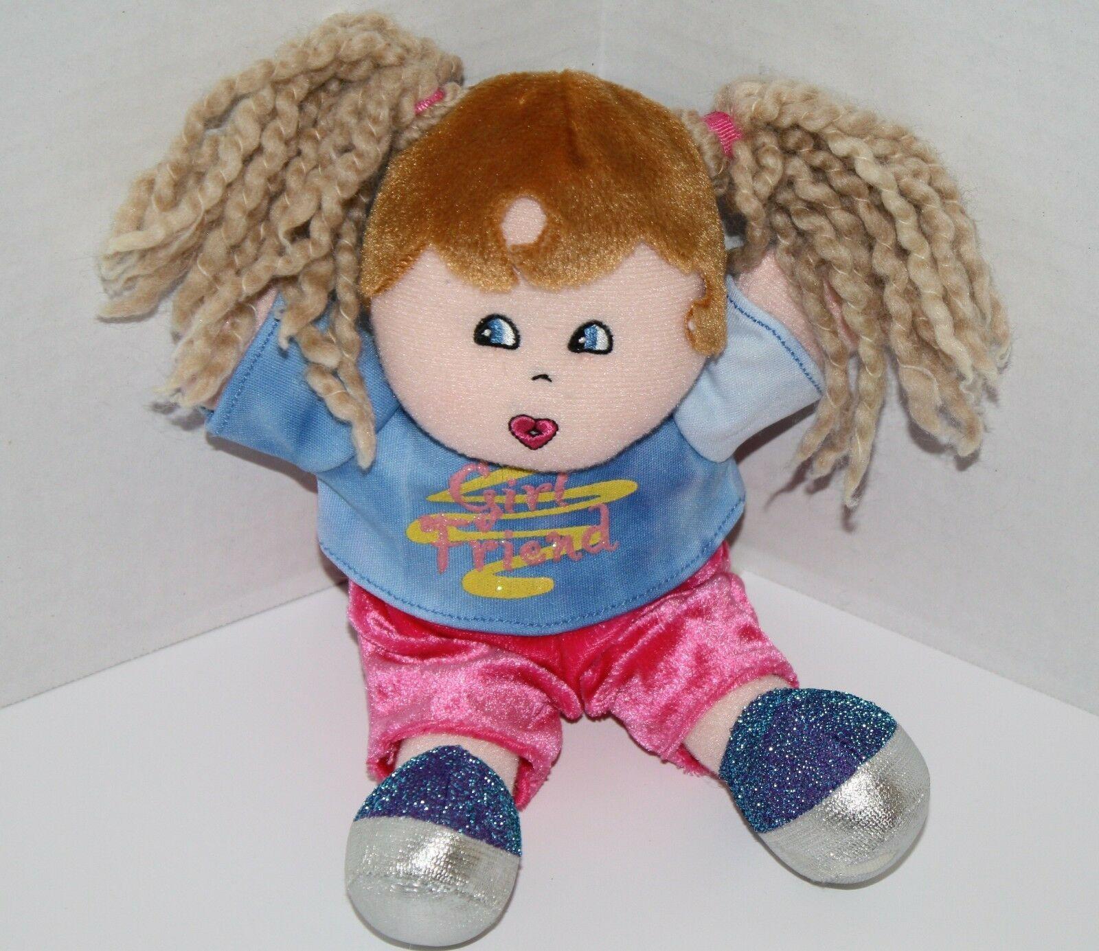 "Dan Dee Plush DOLL 9"" Girl Friend Blonde Yarn Pigtails Brown Hair Stuffed Soft"