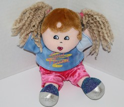 "Dan Dee Plush DOLL 9"" Girl Friend Blonde Yarn Pigtails Brown Hair Stuffe... - $9.09"