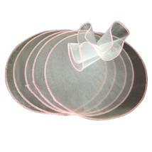 9 inch white organza circles 50 pcs pink edge candy favor wrap - $14.26