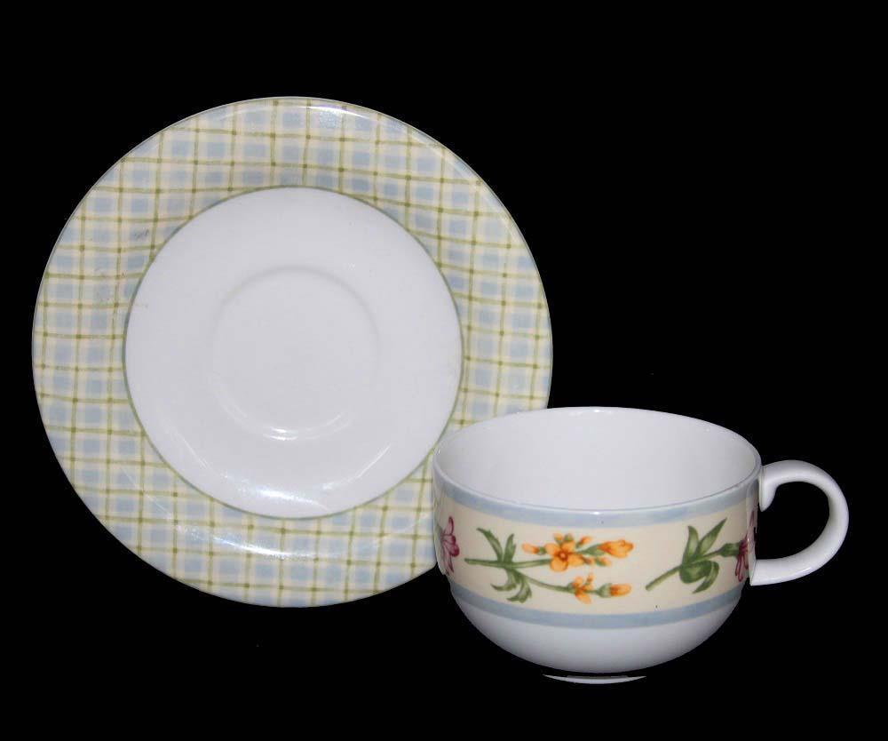 Primary image for Royal Doulton Gingham Check Floral Rounded Short Cup & Saucer DISC Dated 1997