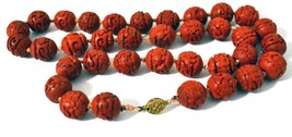 Mid-Century Handcrafted Cinnabar Bead 28 inch Necklace - $59.00