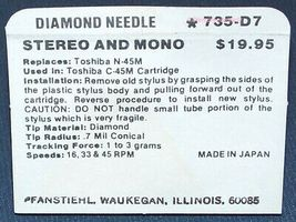 PHONOGRAPH RECORD PLAYER NEEDLE for Sharp STY143 Toshiba N45M 735-D7 image 3