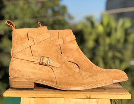 Handmade Tan Suede Jodhpur's High Ankle Monk Strap Boots For Men image 2