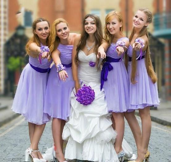 lavender bridesmaid dress,short bridesmaid dress,one shoulder bridesmaid dresses