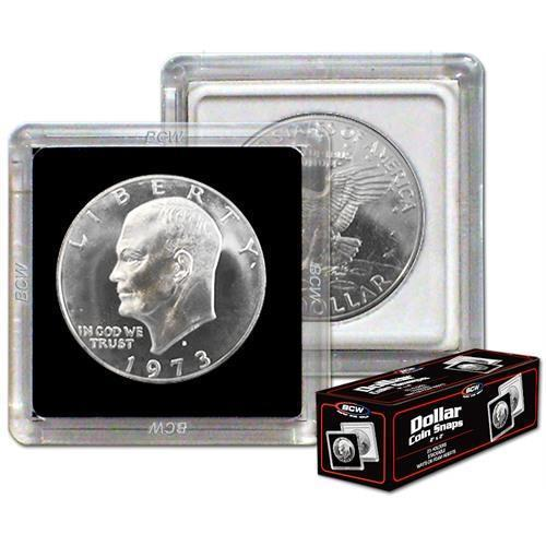 Box of 25 BCW 2X2 COIN SNAP - DOLLAR - BLACK for Premium Long-term Storage Snaps