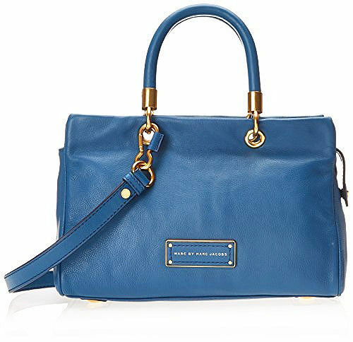 Primary image for NWT Marc by Marc Jacobs Too Hot to Handle Leather Satchel Bag BLUE $428+ AUTHNTC