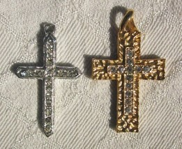 Lot of 2 CROSS PENDANTS with RHINESTONES HAMMERED GOLD TONE and SILVER TONE - $12.34