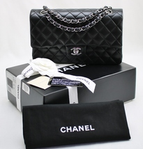 CHANEL Black LAMBSKIN Leather MEDIUM 10 inch Classic DOUBLE Flap Bag w/S... - $3,768.00