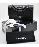 CHANEL Black LAMBSKIN Leather MEDIUM 10 inch Classic DOUBLE Flap Bag w/S... - $3,768.00