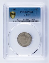 1883 Pattern Nickel Proof J-1714 Graded by PCGS as PR64 - $8,910.00