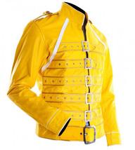 Freddie Mercury Wembley Concert Military Strap Queen Yellow Leather Biker Jacket image 2