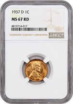 1937-D 1c NGC MS67 RD - Lincoln Cent - $160.05