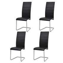 vidaXL Set of 4 Cantilever Black Artificial Leather Dining Chairs Kitche... - $110.99