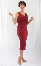 Red Hollywood Dress with Wrap Detailing, Formal Red Party Dress, Red Wrap Dress image 3
