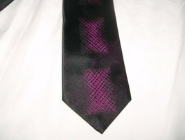 MEN'S HYATT'S BALTIMORE DAMON BLACK PURPLE SQUARES SHAPES PATTERN ALL SI... - $12.47