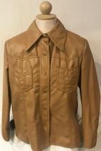 Vintage Fingerhut Faux Leather Light Brown Button Jacket Women's Large L... - $43.95