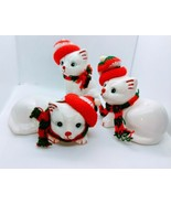 White Ceramic Cats Set Of Three Dressed For The Holidays - $21.20