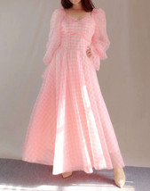 Pink Tutu Dress for Adults Gown Long Sleeve Retro Pink Plaid Tutu Birthday Gown image 1