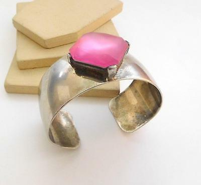 Retro Wide Chunky Industrial Mod Pink Stone Silver Plated Cuff Bracelet O22 image 2