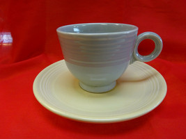 Vintage Fiesta Homer Laughlin Harlequin Gray Coffee Cup & Ivory/Cream Saucer  - $14.95
