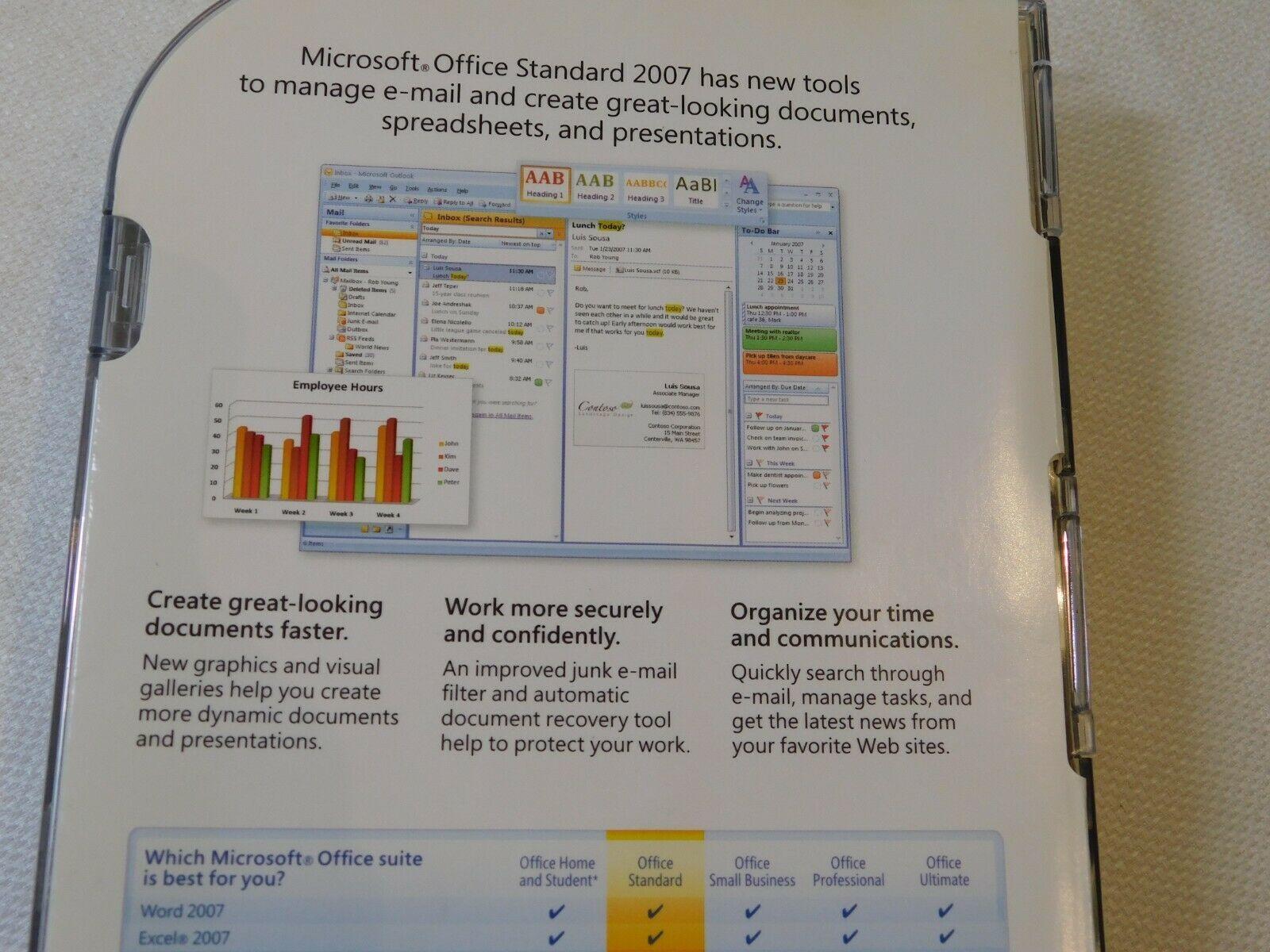 Microsoft Büro Standard 2007 PC Upgrade 021-07668 Geöffnet NOS Neu Word Excel image 6