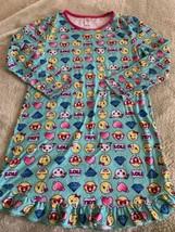 Girls Teal Pink Emojis LOL Diamond Hearts Fleece Long Sleeve Nightgown X... - $9.28