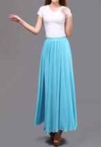 AQUA BLUE Long Chiffon Skirt High Waisted Full Circle Wedding Bridesmaid Skirt image 7