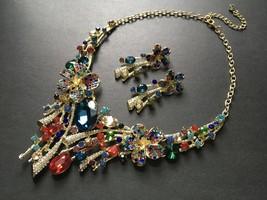 Colorful flowers necklace, wedding necklace, rhinestones crystals neckla... - $42.88