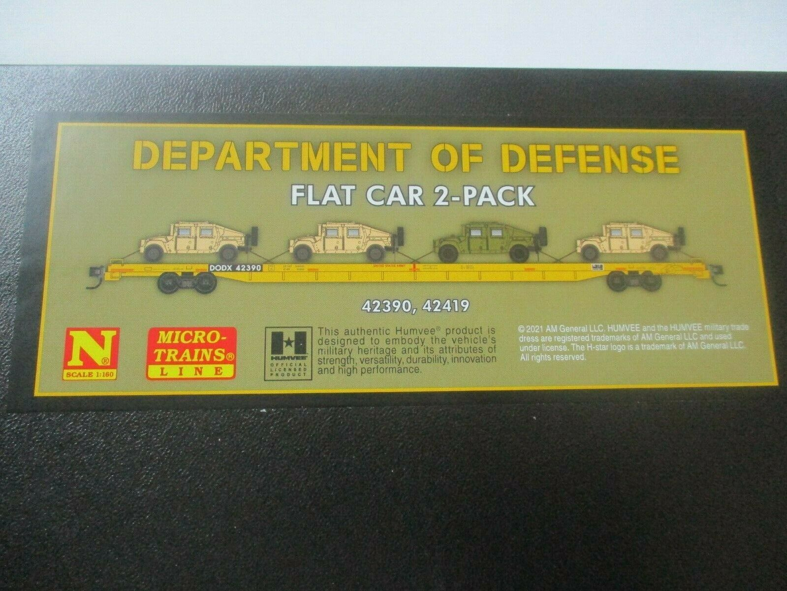 Micro-Trains # 99302180 Department of Defense Flat Car 2 Pack w/Humvees N-Scale
