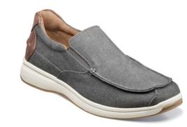 Mens comfort Florsheim Shoes Great Lakes Canvas Moc Toe Slip On Gray 13327-020 - $84.00