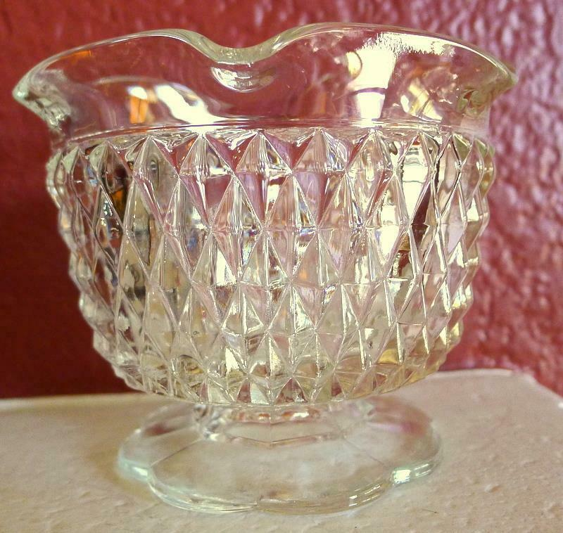 Primary image for Candle Holder Indiana Glass Diamond Point Textured Tiara Taper Votive Clear Vtg