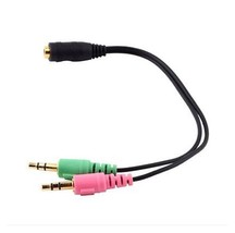 3.5mm 2 in 1 Female To Dual 3.5mm  Male Earphone PC Adapter Audio Cable AH2