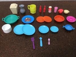 Barbie Dollhouse Scale Dishes Blue Orange Plates Cups Utensils Popcorn #2 - $14.84