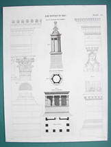 ARCHITECTURE Greece Lysicrates Monument Caryatids - c. 1835 Fine Quality... - $12.15