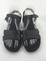 Easy Spirit Women 8 1/2 Sandals Black Leather Wedge Open Toe Hook & Loop - $19.01 CAD