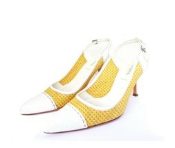 PRADA Beige White Leather Raffia Slingback Heels 36.5 / 6.5 Auth 100% - $99.00