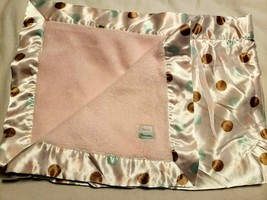 Baby Starters Sweet Dreams Blanket Pink Satin Polka Dots Brown Mint Green - $39.58