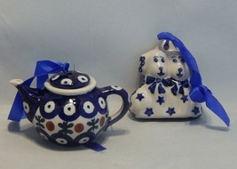 Boleslawiec Poland Pottery Teapot Christmas Ornament and Dogs Ornament  ... - $14.85