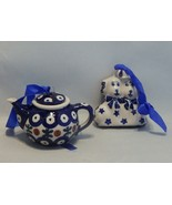 Boleslawiec Poland Pottery Teapot Christmas Ornament and Dogs Ornament  ... - $14.85