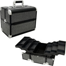 Black Krystal 6-Tiers Accordion Trays Professional Cosmetic Makeup Large... - $69.99