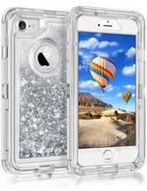 iPhone 6 7 8 liquid glitter defender case Silver color - $7.42