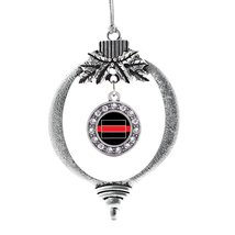 Inspired Silver Wyoming Thin Red Line Circle Holiday Ornament - $14.69