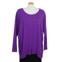 EILEEN FISHER Violet Purple Merino Wool Jersey Ballet Neck Tunic Sweater L - $129.99