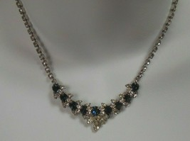 Vintage Faceted Prong-set Blue & Clear Rhinestone Necklace - $54.45