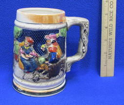 Beer Stein Mug Cup w/ Relief Couple Man Woman Castle Garden Textured Cer... - $9.89