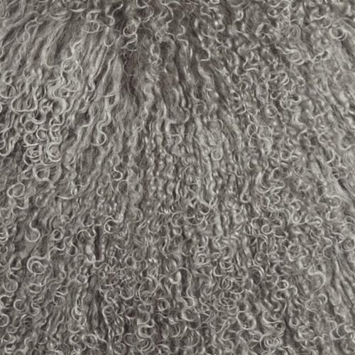 Pillow Decor - Mongolian Sheepskin Gray Throw Pillow image 2