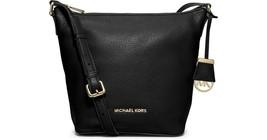 MICHAEL Michael Kors Bedford Medium Black Leather Messenger Handbag Purs... - $120.62