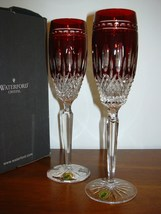 Waterford Clarendon Ruby Flute Pair New in Box - $197.95